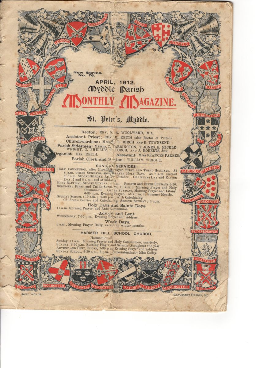Front Cover of a Myddle Parish Monthly Magazine from 1912